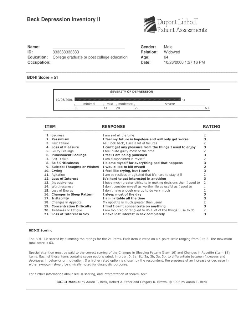 Burns Depression Checklist Online Form - Fill Online ...