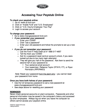 ford hr online paystub Ford Employee Paystub - Fill Online, Printable, Fillable, Blank ...