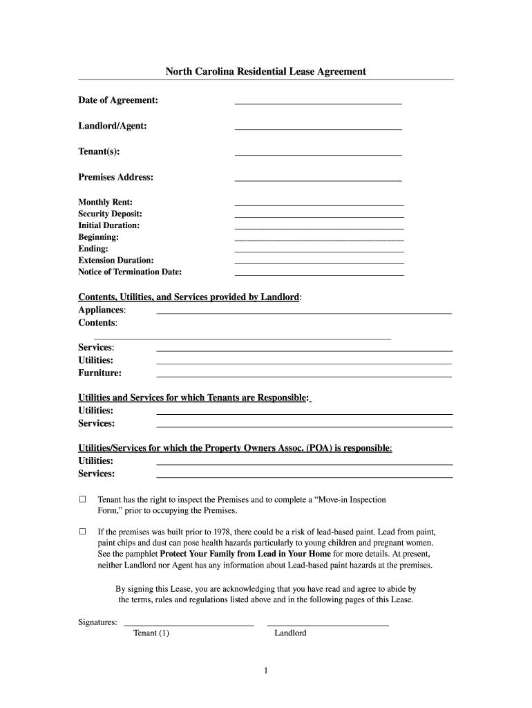 North Carolina Lease Addendum Blank Fill Online Printable