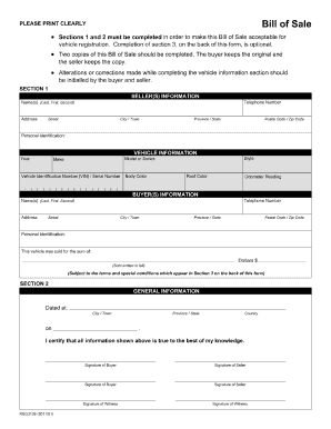 bill of sale alberta form