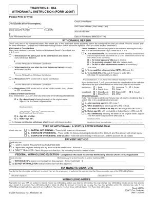 Traditional Ira Withdrawal Form 2306t - Fill Online, Printable ...