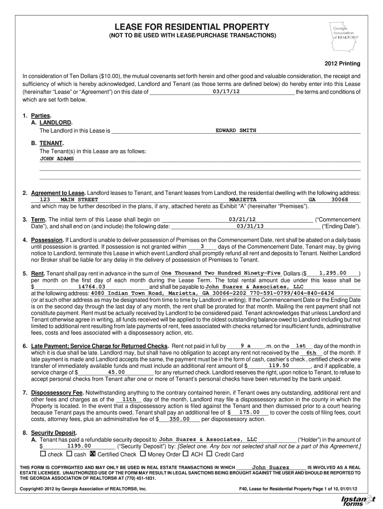 Free Georgia Residential Lease Agreement Pdf Template