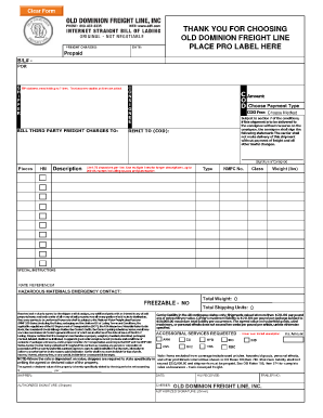 old dominion freight bol form