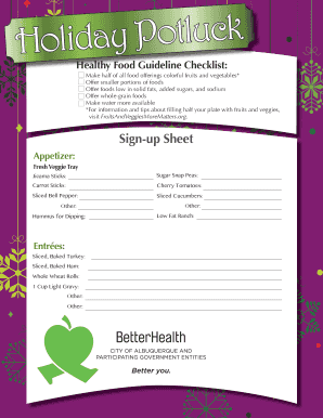 holiday potluck signup sheet template