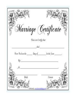 Marriage Certificate Format - Fill Online, Printable