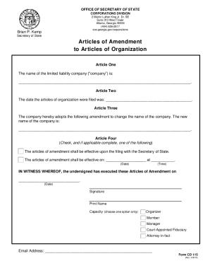 articles of incorporation georgia template - fillable online sos ga sos ga fax email print pdffiller