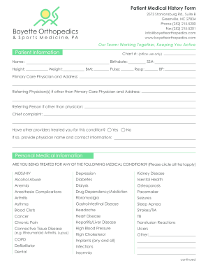 personal medical history form printable fill online printable