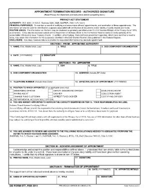 Dd Form 577 July 2010 - Fill Online, Printable, Fillable, Blank ...
