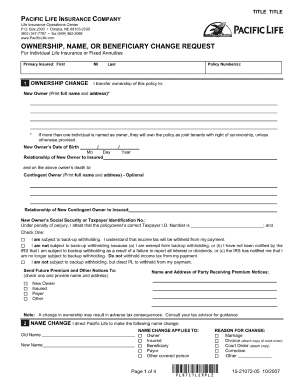 Pacific Life Beneficiary Form - Fill Online, Printable ...