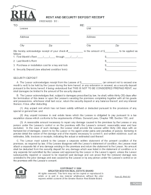 rental deposit receipt and lease agreement state of nc form