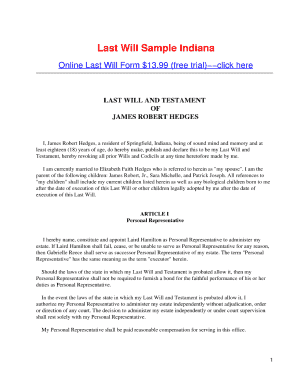 A Will Or Testament For Three Children Indiana - Fill Online ...