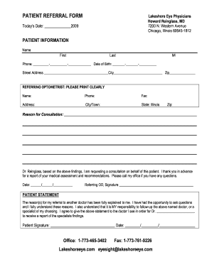 Fillable Online PATIENT REFERRAL FORM - Lakeshore Eye Physicians ...