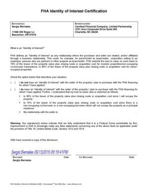 Fillable Online FHA Identity of Interest Certification Borrower(s ...