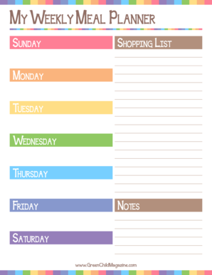 MY WeeklY Meal Planner - Green Child Magazine