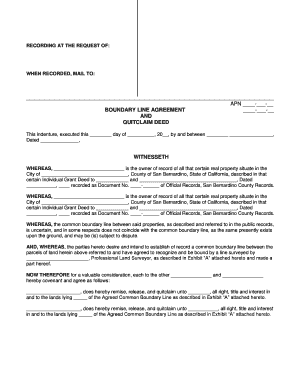 Quit Claim Deed Boundry Agreement - Fill Online, Printable ...