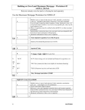 Home mortgage calculator forms and templates fillable for Build your own home calculator