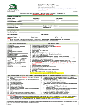 Processor underwriting submission checklist fill online for Loan processing checklist template