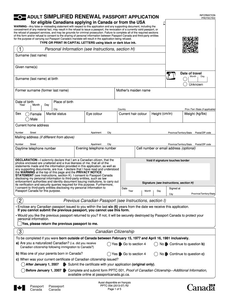 2012 Form Canada PPTC 054 Fill Online, Printable, Fillable ... Canadian Pport Application Form Pptc on