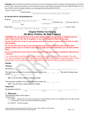 Bill Of Sale Form Texas Divorce Petition Form 1 With Children ...