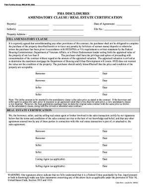 Fha Amendatory Clause Gar - Fill Online, Printable, Fillable ...