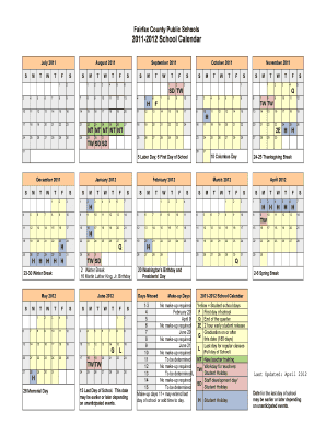 Fcps Calendar 2019.Fcps Calendar 2011 2012 Fill Online Printable Fillable Blank