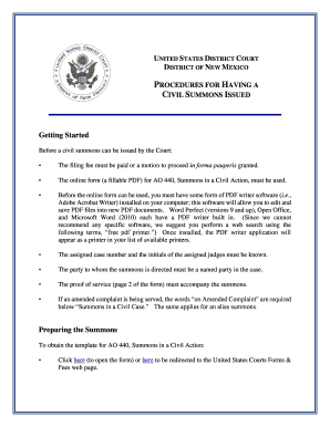 Procedures For Having A Civil Summons Issued   District Of New .  Civil Complaint Template