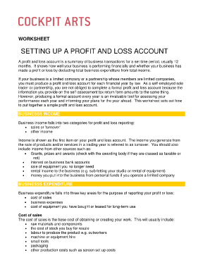Profit and loss fillable 2011 form