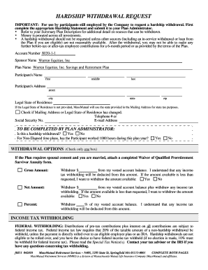 massmutual 401k withdrawal Mass Mutual Hardship Withdrawal Form - Fill Online, Printable ...