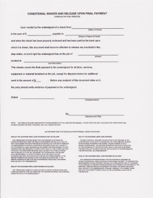 15 Printable conditional lien release Forms and Templates - Fillable