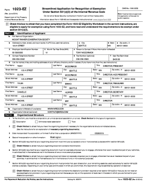 irs form 1023-ez Templates - Fillable & Printable Samples for PDF ...