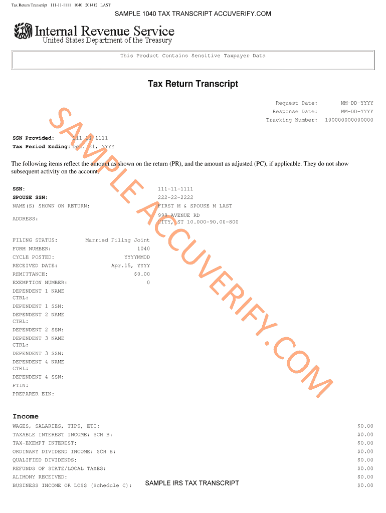 Sample Tax Return Transcriptpdffillercom - Fill Online