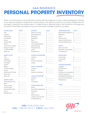 26 printable home inventory forms and templates fillable samples