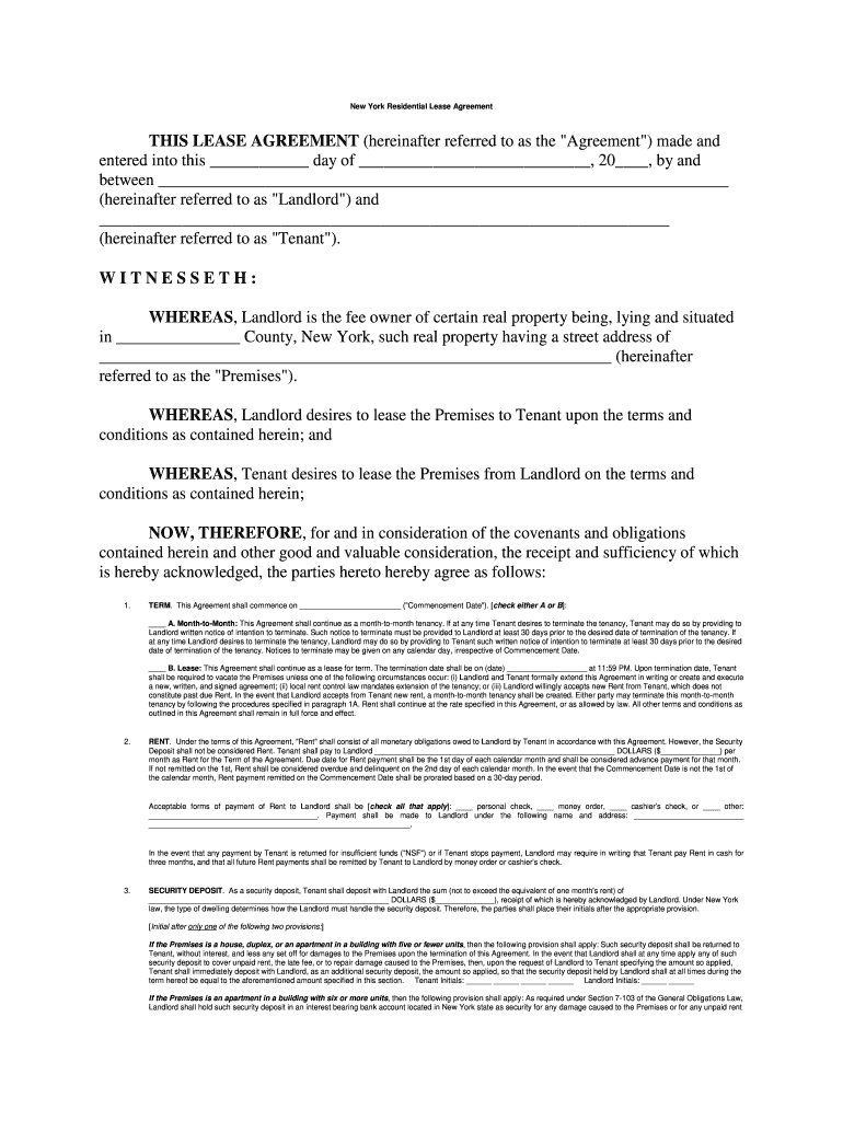 Lease Rental Agrement Buffalo Ny Fill Online Printable
