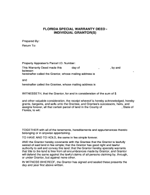 Florida Special Warranty Deed - Fill Online, Printable, Fillable ...