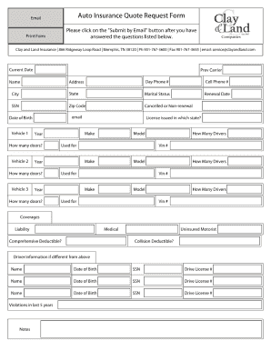 Car Insurance Form - Fill Online, Printable, Fillable ...