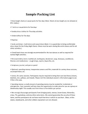 Fillable Online ce byu Sample Packing List - ce byu Fax Email ...