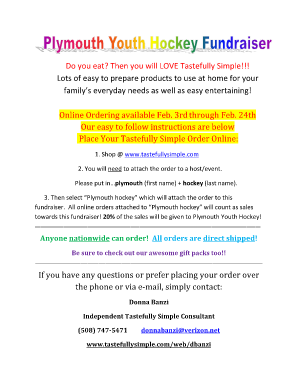 tastefully simple fundraiser form