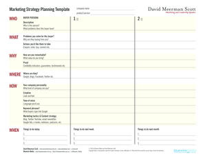 Marketing Strategy Planning Template - David Meerman Scott