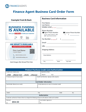 Finance agent business card order form fill online printable preview of sample qvisa flashek Images