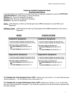 Printable Vanderbilt assessment scale scoring - Edit, Fill Out ...