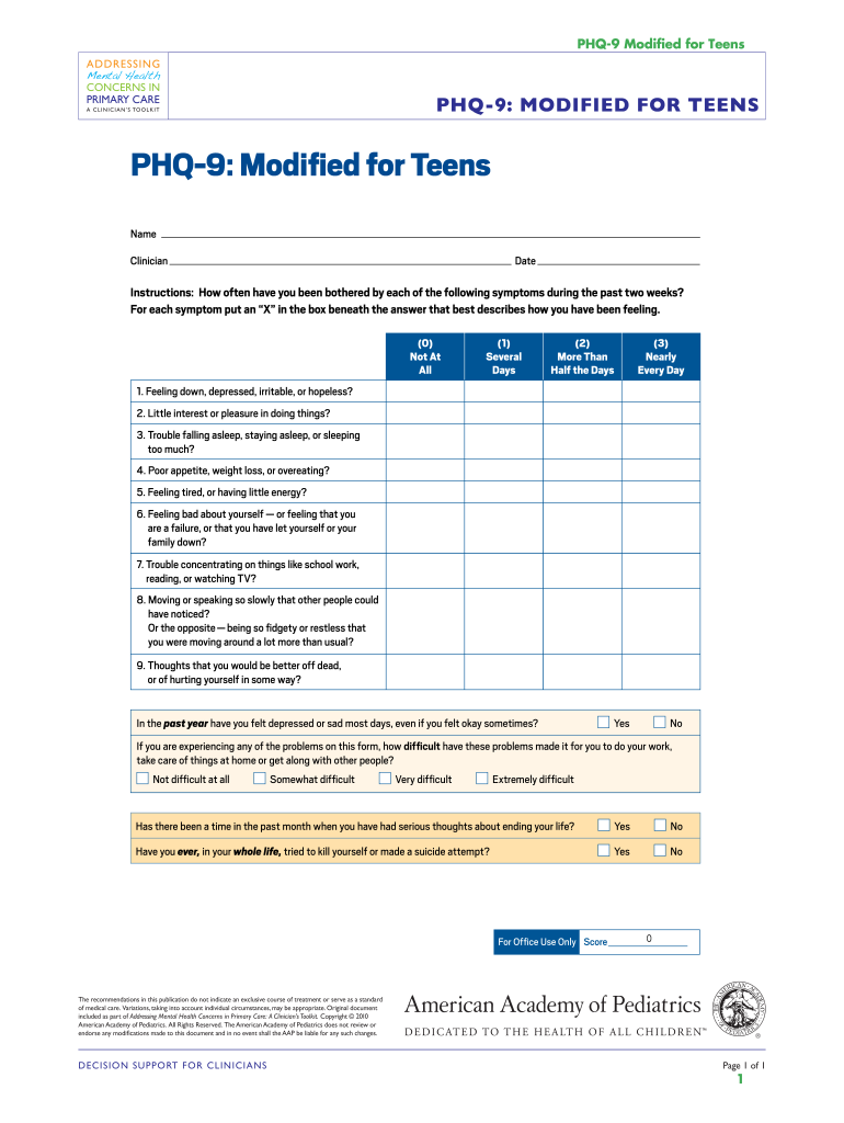 Phq 9 Modified For Teens Fill Online Printable Fillable Blank Pdffiller