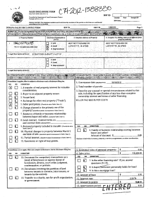 Fillable Online tippecanoe in SALES DISCLOSURE FORM Stare Form + ...