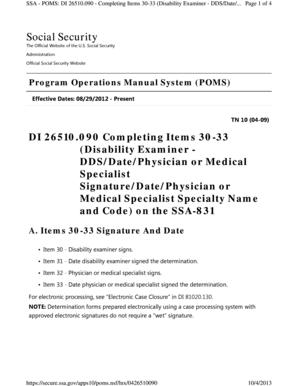fillable online lb7 uscourts ssa poms di 26510 lb7 uscourts fax rh pdffiller com program operations manual system (poms) Operations Manual Template for Word