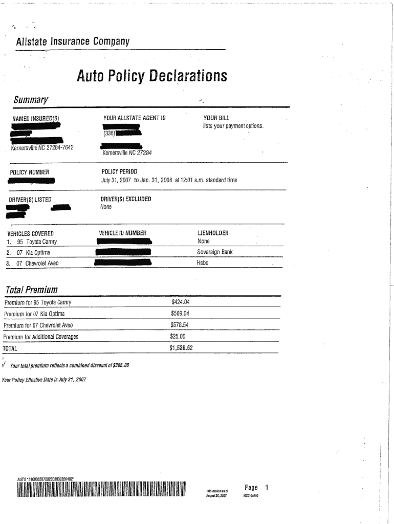 Progressive Auto Insurance Declaration Page Template Fill Online