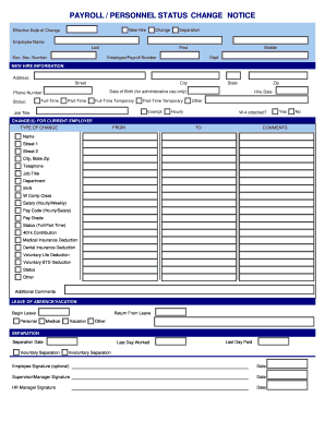Payroll status change notice fill online printable for Payroll change notice form template