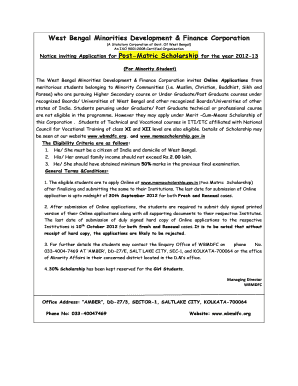 wbmdfc post matric scholarship form 2012 13
