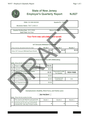 Employers Quarterly Report Nj927 - Fill Online, Printable ...