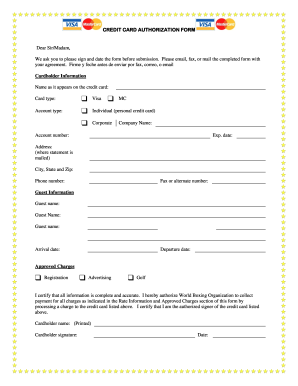 Form Fillable Credit Card Authorization Form Fill Online