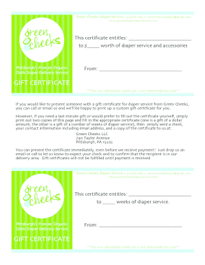 Online fillable gift certificate form
