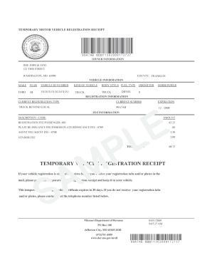 Car Registration Missouri Fill Online Printable